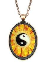 Yin Yang Balance Blossom Huge 30x40mm Amulet Talisman Antique Copper Pen... - $14.95