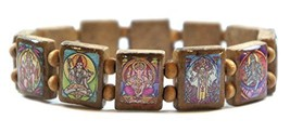 Hindu Gods & Goddesses Manifestation Prayer Brown Wood Stretch Bracelet - $14.95