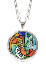 Whimsical Music Silver Pendant with Chain Necklace [Jewelry] - $14.95
