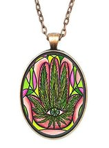 Marijuana Hamsa Huge 30x40mm Antique Copper Pendant with Chain Necklace - $14.95