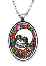 Marijuana Skull Huge 30x40mm Handmade Silver Plated Art Pendant [Jewelry] - $14.95