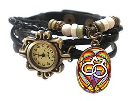 "Gay Black Boho Leather Charm Bracelet Watch 7"" to 8 1/4"" [Watch] - $14.95"