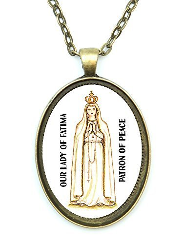 Our Lady of Fatima Saint of Peace Huge 30x40mm Antique Bronze Gold Pendant wi...