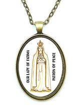Our Lady of Fatima Saint of Peace Huge 30x40mm Antique Bronze Gold Pendant wi... - $14.95