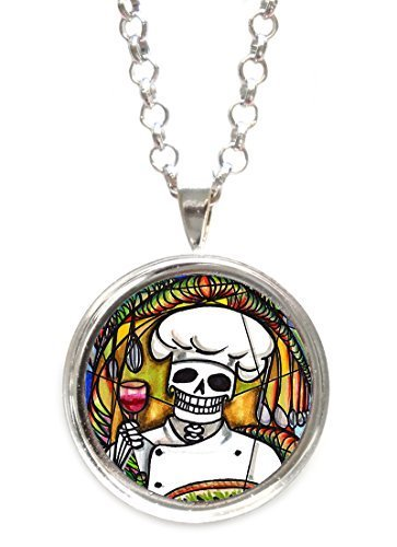 Skull Chef Silver Pendant with Chain Necklace [Jewelry]