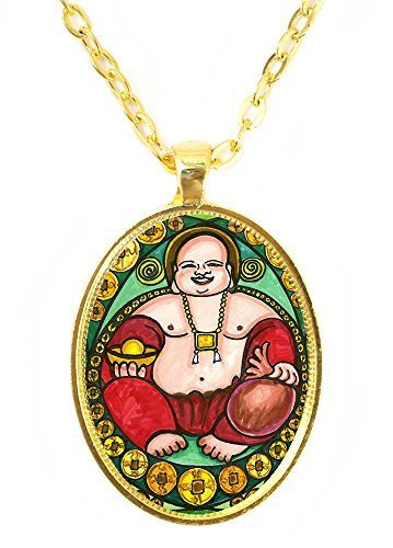 Buddha Wealth Blessings Huge 30x40mm Bright Gold Pendant with Chain Necklace