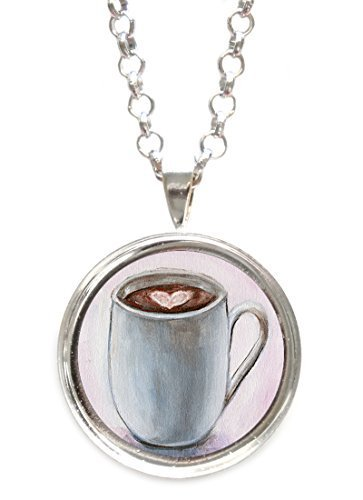 Mocha Hot Chocolate Love Silverpendant with Chain Necklace [Jewelry]