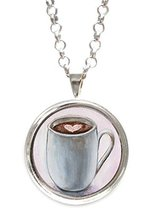 Mocha Hot Chocolate Love Silverpendant with Chain Necklace [Jewelry] - $14.95