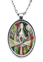 Egyptian Goddess Huge 30x40mm Handmade Silver Plated Art Pendant [Jewelry] - $14.95