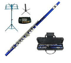 MERANO BLUE FLUTE WITH CASE KEY OF C + METRO TUNER + STAND + BLUE MUSIC ... - $119.99