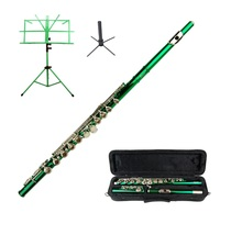MERANO GREEN FLUTE WITH CASE KEY OF C + STAND + GREEN MUSIC STAND - $112.00