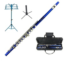MERANO BLUE FLUTE WITH CASE KEY OF C + STAND + BLUE MUSIC STAND - $112.00