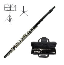 MERANO BLACK FLUTE WITH CASE KEY OF C + STAND + BLACK MUSIC STAND - $112.00
