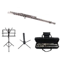 MERANO SILVER NICKEL FLUTE WITH CASE KEY OF C + STAND + MUSIC STAND - $99.99