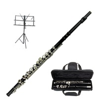 MERANO BLACK FLUTE WITH CASE KEY OF C +  BLACK MUSIC STAND - $95.99