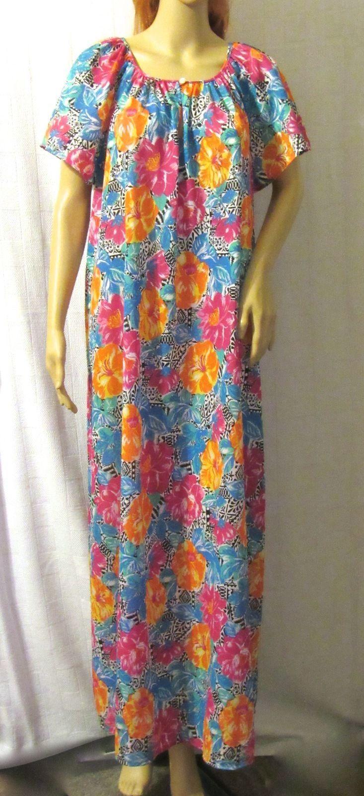 La Valle & Mills Vintage Floral Print Nylon Maxi Multi-Color Lounge Dress 4/6