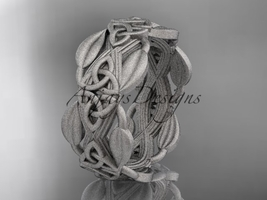 14kt white gold celtic trinity knot matte finish wedding band CT7259B - $1,250.00