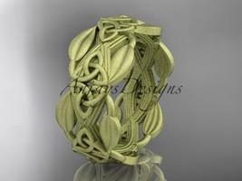 14k yellow gold celtic trinity knot matte finish wedding band,engagement CT7259B - $1,250.00