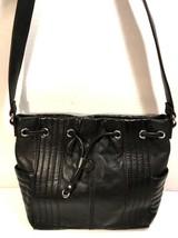 Tignanello Soft Black Leather Single Strap Shoulder Bag Silver Tone Hardware - $38.79