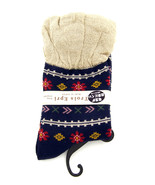 Women new blue floral stripe ruffle trim fashion boot socks size 7-9 - $18.00