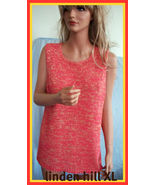 NEW SZ  M  LINDEN HILL RIBBON KNIT CORAL GOLD TANK TOP SHELL SLEEVELESS ... - $13.99