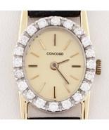 Concord 14k Yellow Gold Quartz Watch w/ Diamond Bezel and Leather Band - $2,128.50