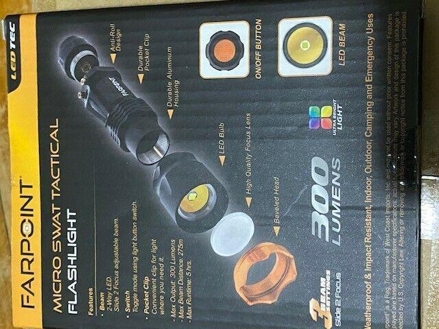 Farpoint Micro Swat Tactical  Flashlight 300 Lumens  LED Flashlight-Brand New