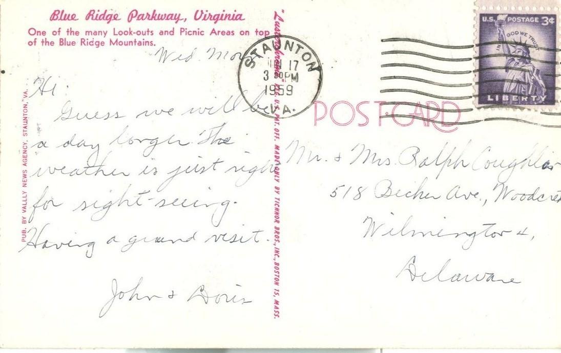 Blue Ridge Parkway, Virginia, 1959 used chrome Postcard
