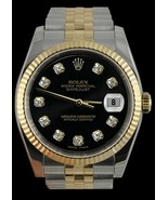 Rolex black diamond dial datejust gents watch t... - $3,744.32