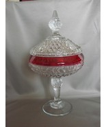 "VINTAGE INDIANA DIAMOND POINT RUBY RED CANDY DISH WITH LID FOOTED 11 1/2"" - $29.99"