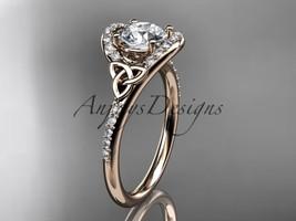 14kt rose gold diamond celtic trinity knot wedding ring, engagement ring CT7317 - $1,350.00