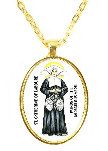 St Catherine Patron of the Miraculous Medal Huge 30x40mm Bright Gold Pendant ...