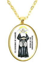 St Catherine Patron of the Miraculous Medal Huge 30x40mm Bright Gold Pendant ... - $14.95