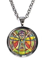 Joyful Chakra Healer Gunmetal Pendant with Chain Necklace [Jewelry] - $14.95