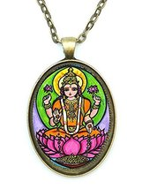 Lakshmi of Wealth Fortune Huge 30x40mm Talisman Antique Gold Bronze Pend... - $14.95