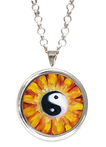 Balance Blossom Yin Yang Silver Pendant with Chain Necklace [Jewelry]