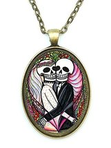 Eternal Matrimony Love Skulls Huge 30x40mm Antique Bronze Gold Pendant w... - $14.95