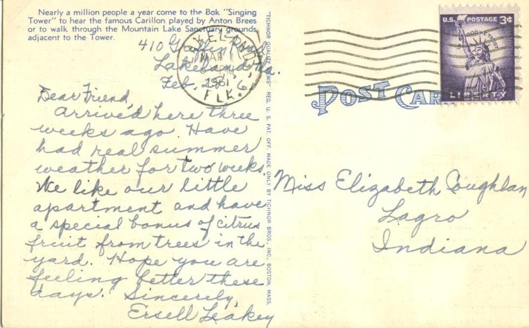 """Bok """"Singing Tower"""", Lake Wales, Florida, 1961 used linen Postcard"""