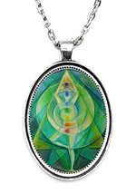 Green Yoga Heart Chakra Dancer Huge 30x40mm Handmade Silver Plated Art P... - $14.95