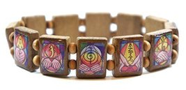 Reiki Healing Symbols Brown Wood Stretch Bracelet [Jewelry] - $14.95