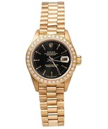 gold presidential style watch black stick dial ... - $5,522.22