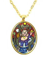 Buddha Good Luck Dragon Huge 30x40mm Bright Gold Pendant with Chain Neck... - $14.95