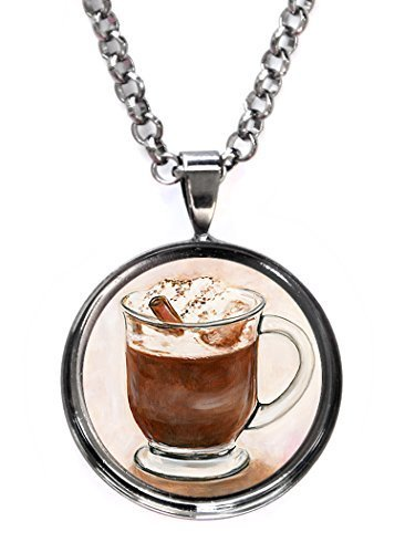Mocha Chocolate Cafe Love Gunmetal Pendant with Chain Necklace [Jewelry]