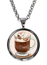 Mocha Chocolate Cafe Love Gunmetal Pendant with Chain Necklace [Jewelry] - $14.95