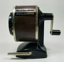Vintage Berol Vacuhold APSCO Pencil Sharpener 6 Hole Brown Wood Grain Te... - $12.86