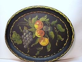 "VintageTole Painted Tray With Fruits. Sz 17 1/2"" 14"". - $26.00"
