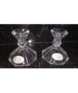 """Set of 2  CRYSTAL CANDLESTICKS CANDLE HOLDERS TAPERS 4-1/4"""" Tall - $5.00"""