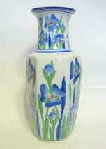 Tall Chinese Vase Blue Floral Ceramic - $53.45