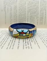 Painted Wood bangle bracelet inspired by Hundertwasser Art jewelry gift ... - $25.03