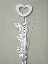 "3 Pcs Heart Silver Hearts Onion Grass Spray Metallic Pick Decoration 24"" Long - $7.91"